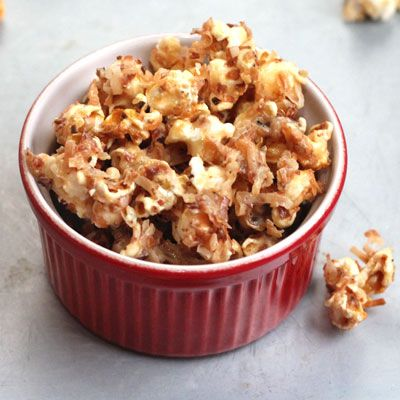 Creamy Coconut Caramel Corn (Saveur).  A smooth sauce made from sweetened condensed milk finds a textural counterpoint in nutty toasted coconut in this riff on classic caramel corn.