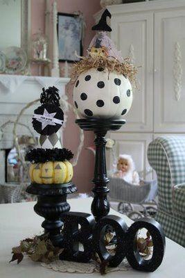 Homemade Halloween Decor.: Halloween Costume, Idea, Polka Dots, Halloween Decoration, Dots Pumpkin, Halloween Pumpkin, Fall Halloween, Halloween Fal, Homemade Halloween
