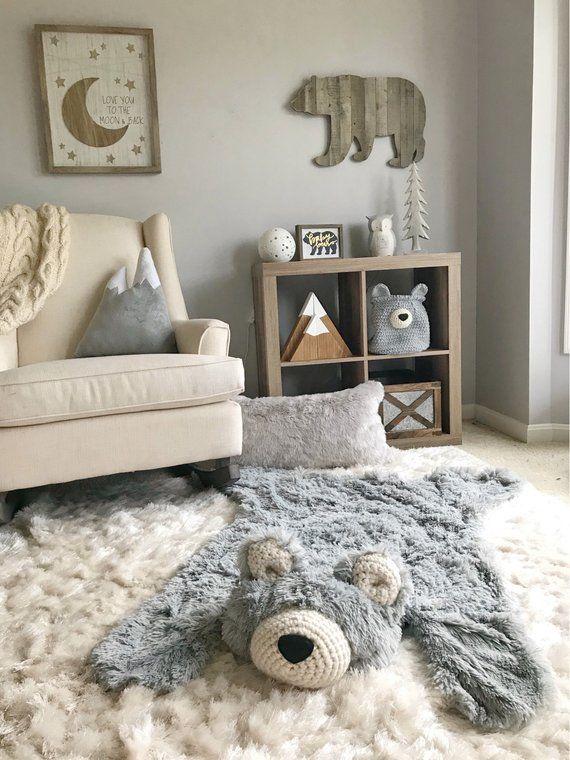 Bear rug nursery, Regular Size Gray Minky – mountain nursery, regular size Bear Rug, Woodland Nursery Rug