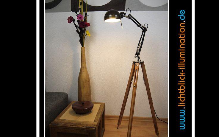 Stehlampen - Machine Age Tripod Steh Lampe Holz Stativ Bauhaus - ein Designerstück von lichtblick-illumination bei DaWanda