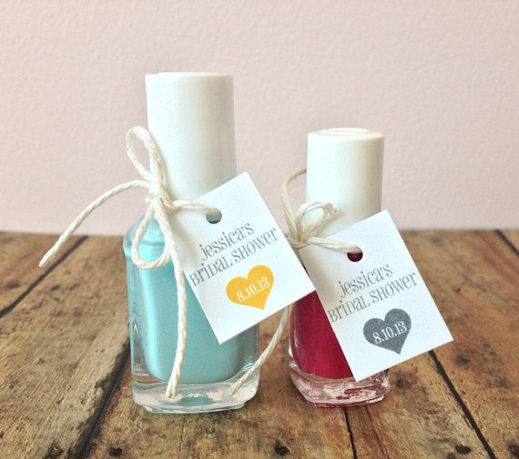 50 Most Creative Bridal Shower Favors My personal fave is nail polish in your bridal colors, so your friends and family can match! Lots of other cute ideas too!