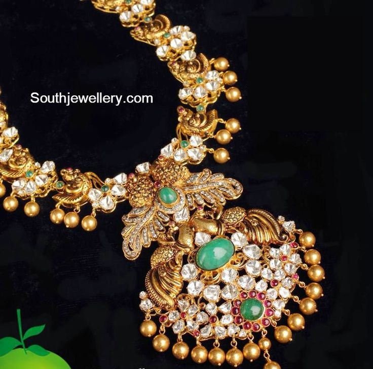 Indian jewellery designs-peacock nakshi necklace