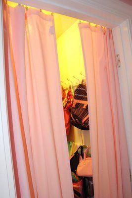 Space saving idea... taking off a closet door. – The Polka Dot Chair