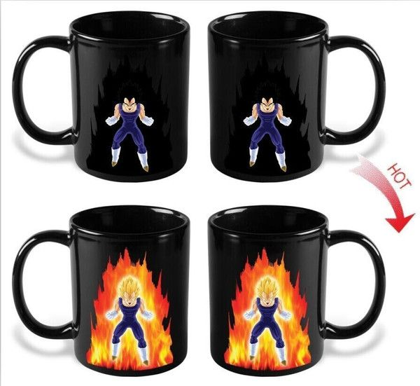 Dragon Ball Z Heat Reactive Mug featuring Vegetanew in box. Pour hot liquid into this mug and watch Vegetapower level rise to over 9000!!!!!!! Dragon Ball Z c