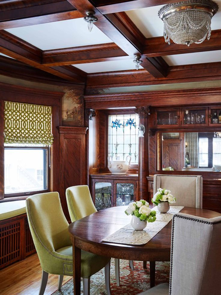 Ideas Inspirations Victorian Dining Room Dark Brown Wall Decoration Wood Coffered Ceiling Design Table