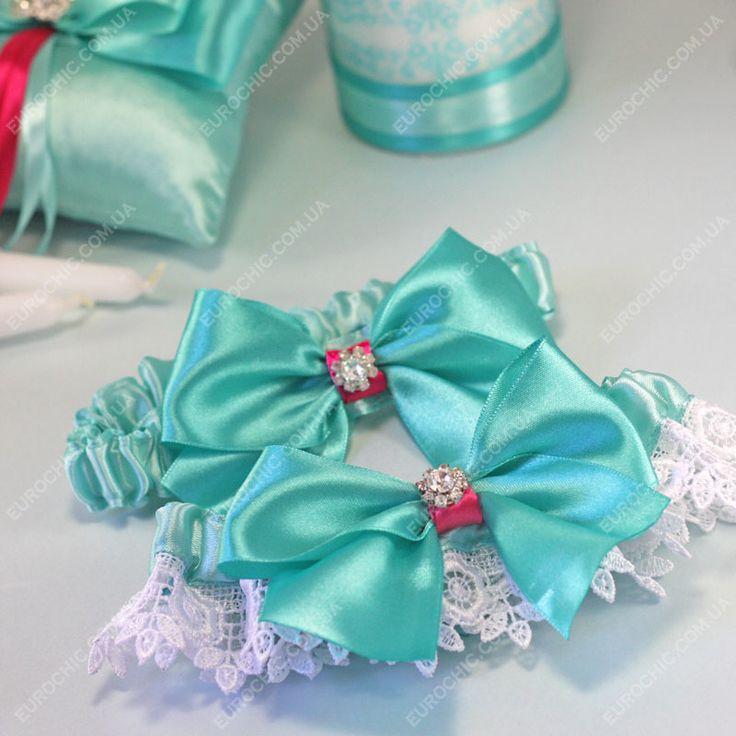 Свадебные подвязки невесты бирюзово-розовые