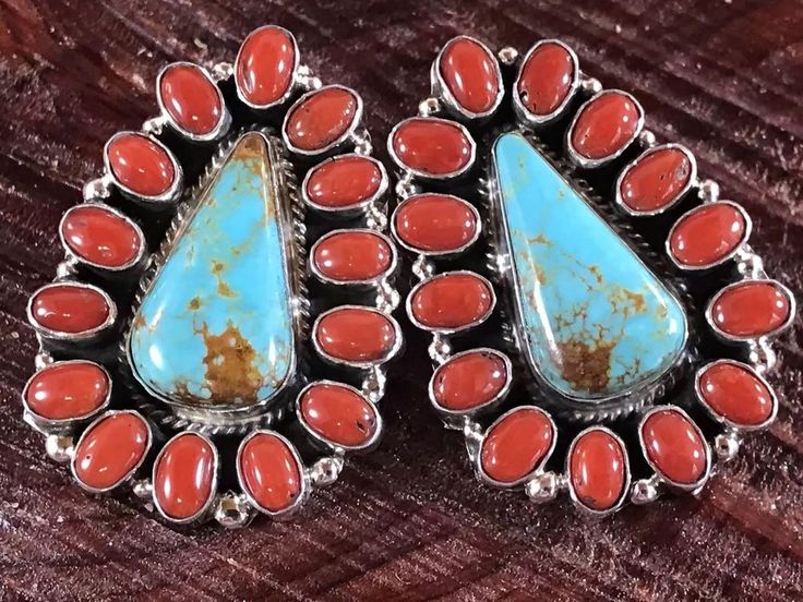 NAVAJO ~TURQUOISE ~RED CORAL~ STERLING~EARRINGS ~SIGNED~GERALDINE JAMES | eBay