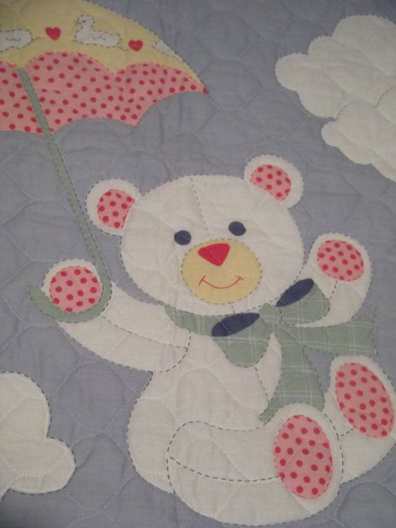 SALE..baby quilt blanket in blue pink with by QuailCreekCreations