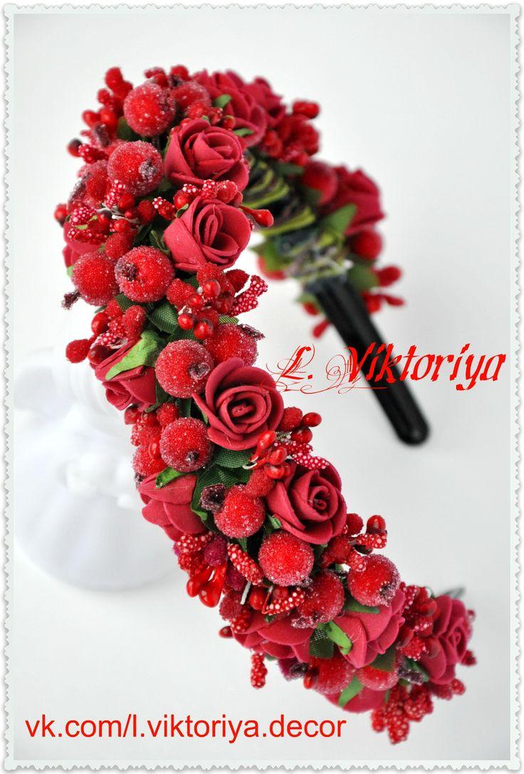 Ободочек для волос из роз