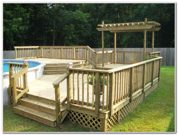 Best 25 semi inground pool deck ideas on pinterest deck - Above ground pool decor ...
