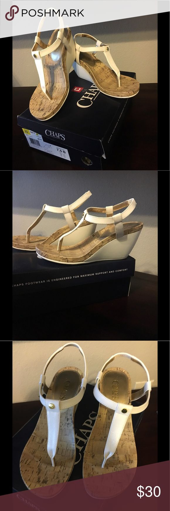 Chaps Ralph Lauren Wedge Sandals Beautiful Chaps Sandals. Worn once. Too many Sandals and these never get worn. Original box included! Chaps Shoes Sandals