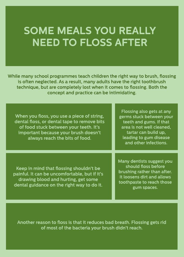 Floss also get remove the bacteria and food from your mouth. They cleaned completely germs from the mouth. Pay a look at this info-graphic and know some meals you really need to floss after.