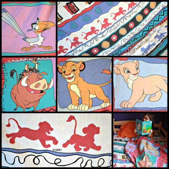 Ensemble de draps de Roi Lion 1990 Drap plat lit simple Drap