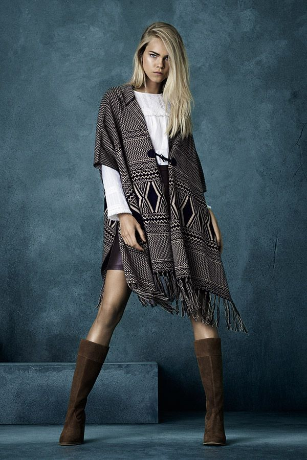 Pair aztec wraps with suede boots for a wintry take on boho. #AW15edit #newlook #fashion
