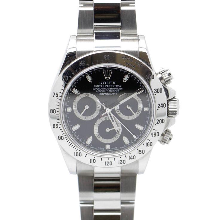 Rolex Daytona Stainless Steel Black Dial 40mm Mens Watch