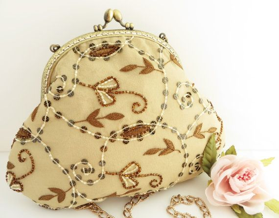 Evening bag beige silk embroidered and beaded  by LoveThirties