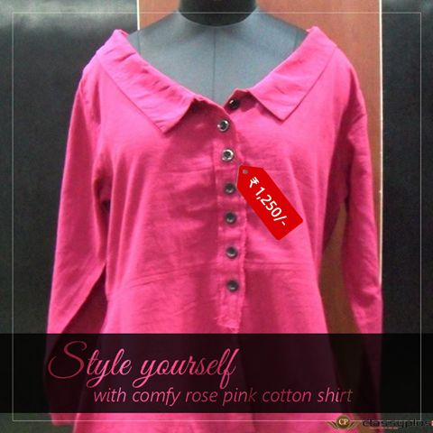 Style yourself with comfy rose pink cotton shirt. #Classyplus #Clothing #Woman #Fashion #CasualShirt https://goo.gl/CmSdda