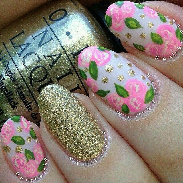 pink & gold floral