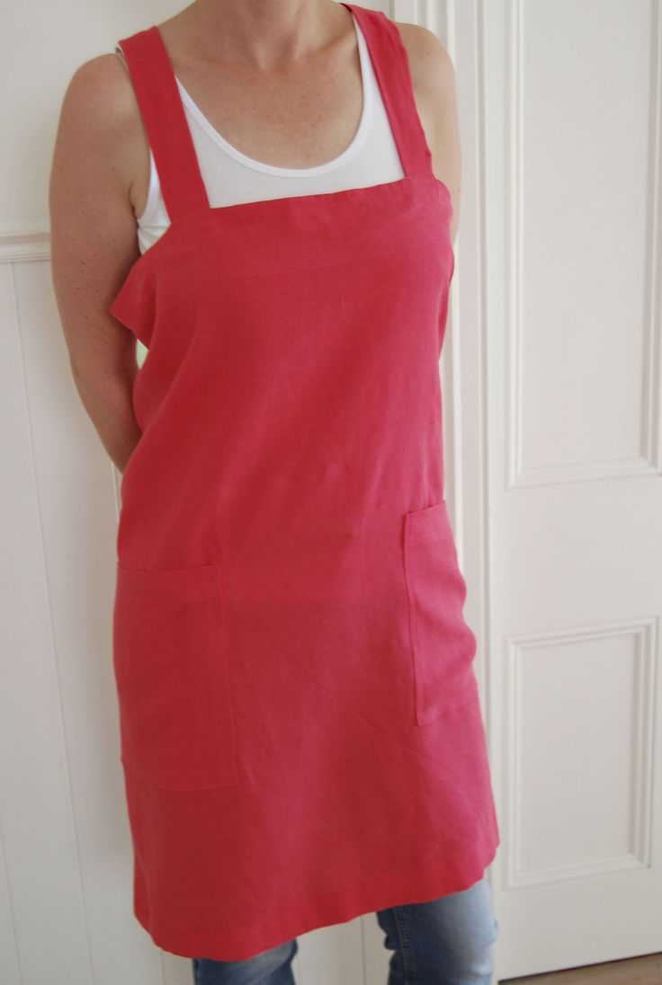 Raspberry sorbet softened linen japanese apron.  Hand made in New Zealand, available from etsy.com