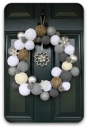 yarn ball wreath - for winter/after Christmas