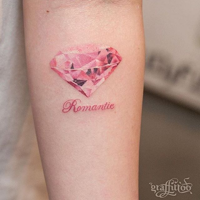 Pretty Pink Diamond Tattoo | Venice Tattoo Art Designs
