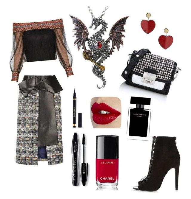 A collection by deepagillshere on Polyvore featuring polyvore fashion style Alexander McQueen River Island Karl Lagerfeld Topshop Lancôme Narciso Rodriguez Chanel clothing