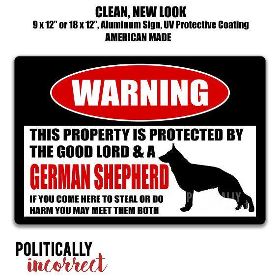 German Shepherd Dog Sign No Trespassing Sign Funny Metal Sign Dog
