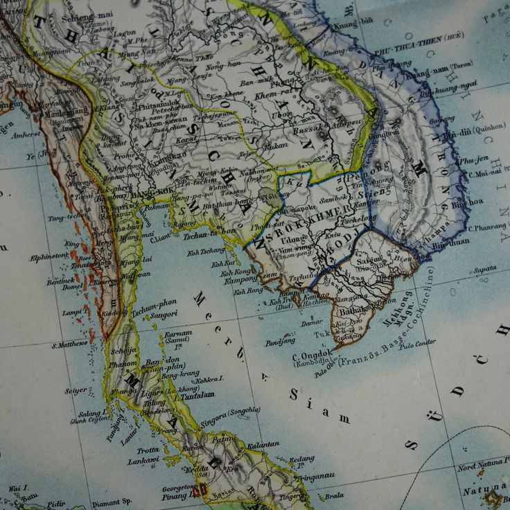 """1874 large antique map of southeast Asia - beautiful old hand-colored poster China Japan Indonesia Indochina Thailand - vintage big - 19x24"""" by VintageOldMaps on Etsy"""