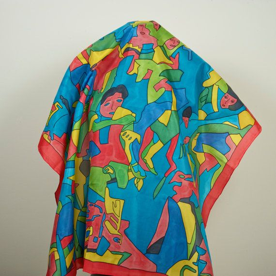 Handpainted Square 100% Silk Scarf dyed with silk by Scarfaki
