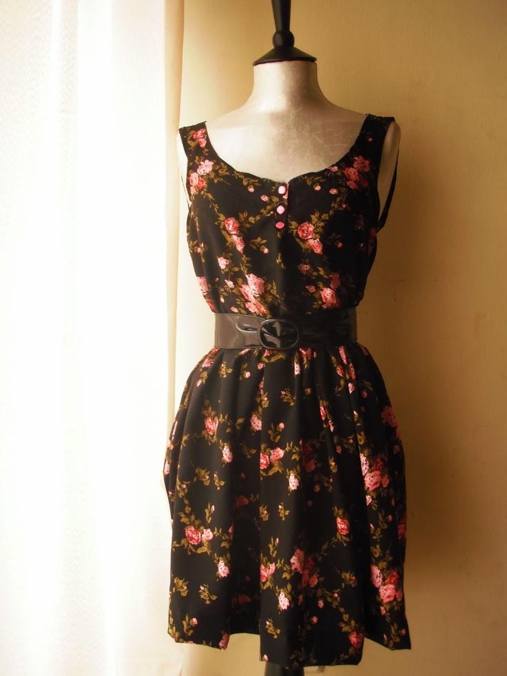 Knee high floral summer dress.