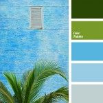 bright-blue color, color matching, color of palm, color of palm leaves, color of the sky, color palettes for decor, dark green, dark olive