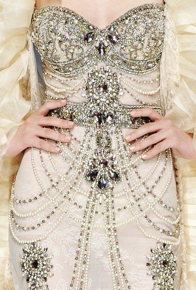 Beaded beauty. Could this wedding dress be more luxe?