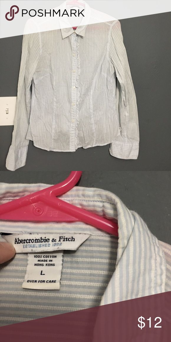 Abercrombie & fitch blue and white striped sheer Really cute with little white cami under it.  I would say it's a small running large.  More towards medium. Good condition. Abercrombie & Fitch Tops Button Down Shirts