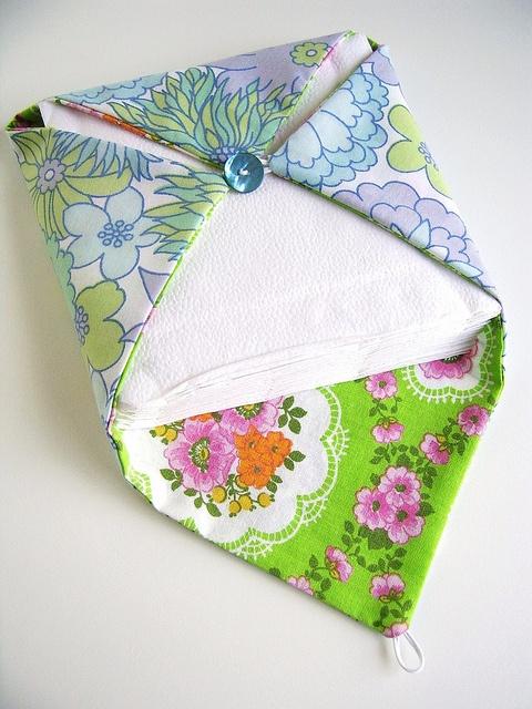 fabric napkin holder, via Flickr.-cute for picnic basket!