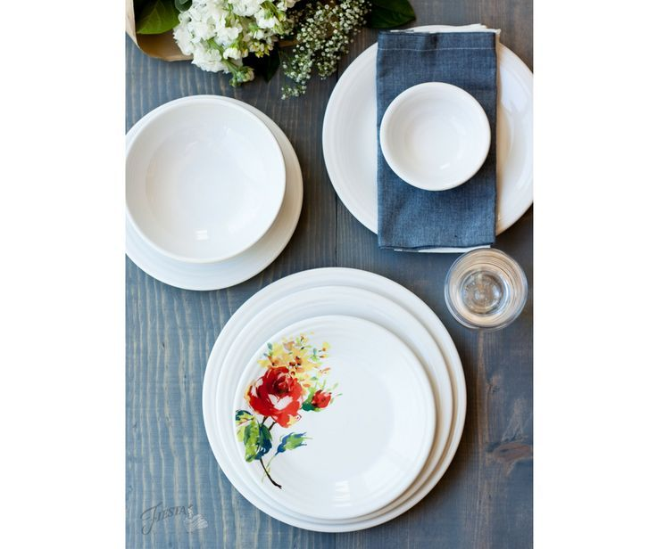 Fiesta Dinnerware new Floral Bouquet design, available at retailers and http://www.fiestafactorydirect.com March 2017.