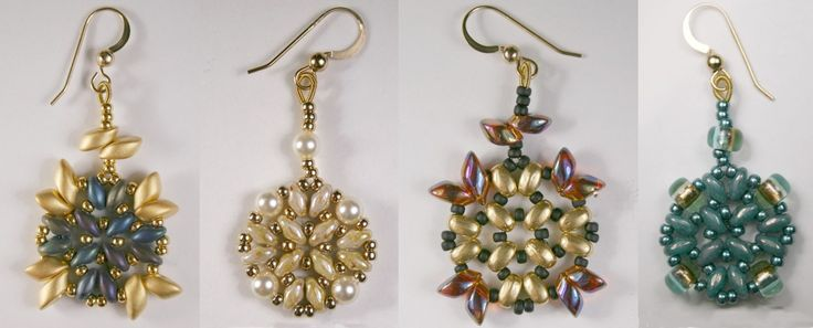 Variations of a Pattern    Athena Earrings  by Deborah Roberti at aroundthebeadingtable.com              Deb's design includes:     11/0 Se...
