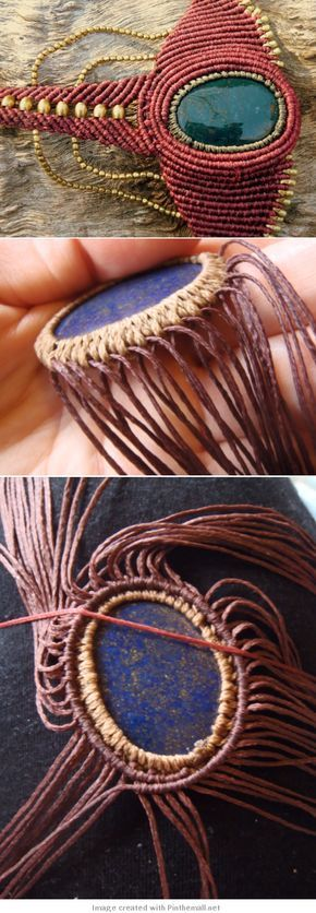 macrame - necklace - detailed photo tutorial on cradling a stone and then adding cord to work around it