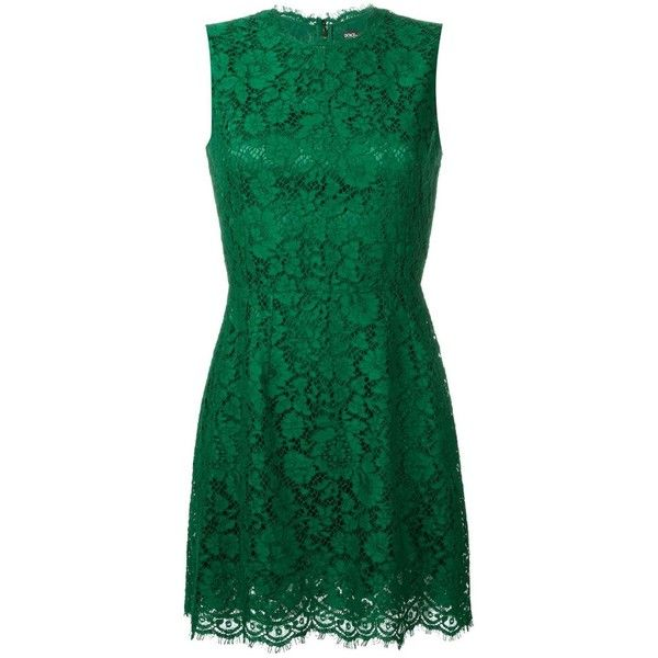 Dolce & Gabbana Sleeveless Lace Dress ($1,760) ❤ liked on Polyvore featuring dresses, green, mini dress, green sleeveless dress, floral lace dress, short dresses and lace dress
