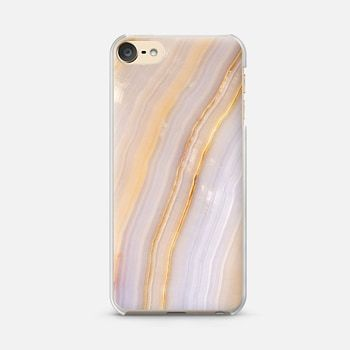 iPod Touch 6 Case Purple and Gold Stripe Marble
