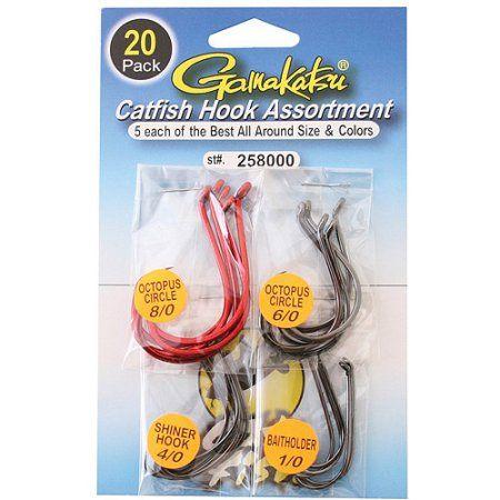 Gamakatsu Catfish Hook Assortment, 20pk, Multicolor