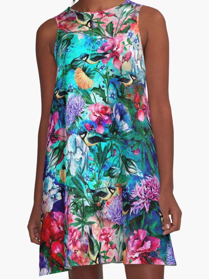 Flowers & Birds by RIZA PEKER #floral #women #fashion #summer #dress #blue #red #moda