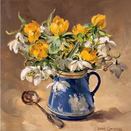 Aconites and Snowdrops   Mill House Fine Art – Publishers of Anne Cotterill Flower Art