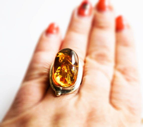 Sterling Silver Baltic Amber ring by AmberLovers20 on Etsy
