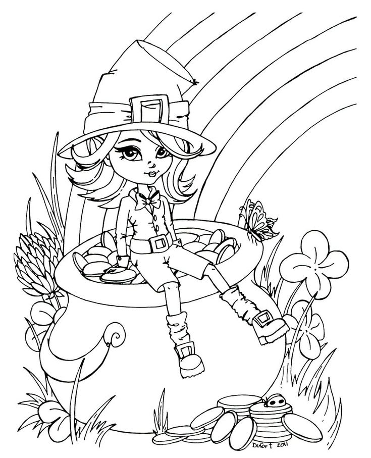 193 best girley color pages images on Pinterest Adult coloring - best of leprechaun coloring pages online