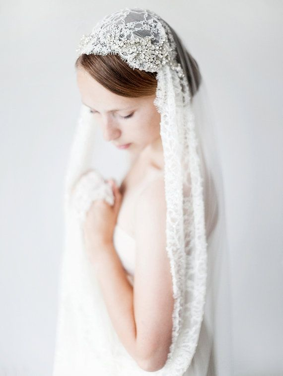 Wedding Veil, Juliet GLB, veil Bridal Veil, Kapel lengte, lace, kristal kraaltjes Veil - stijl 422
