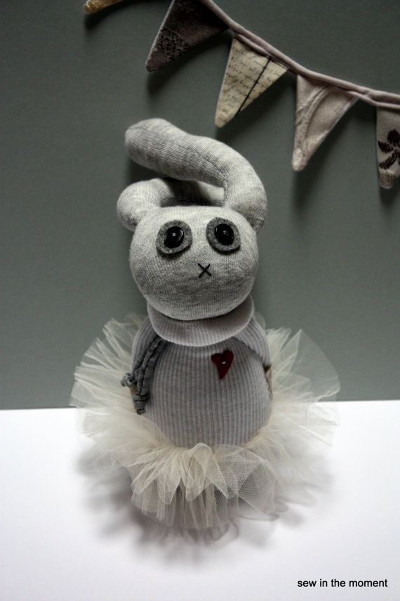Ballet Bunny Sock Doll in Tutu with heart by Sew in the Moment at Etsy