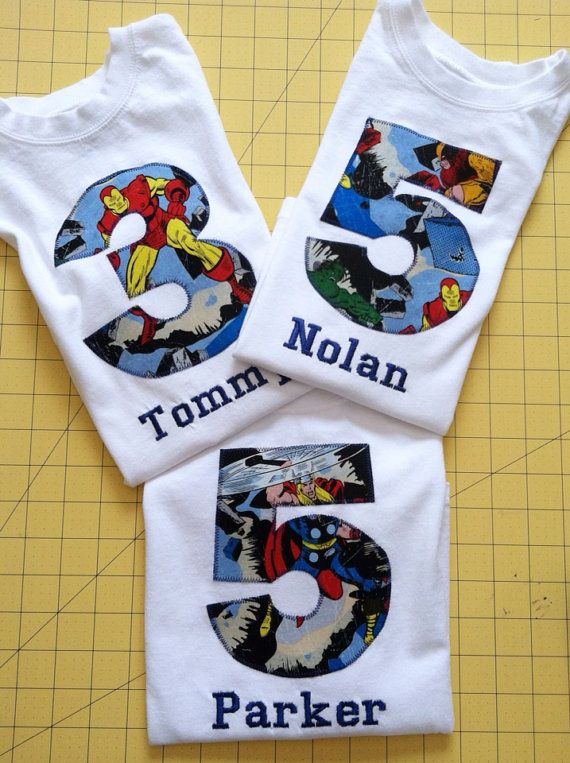 Hey, I found this really awesome Etsy listing at https://www.etsy.com/listing/182779681/avengers-birthday-shirt-kids-appliqued