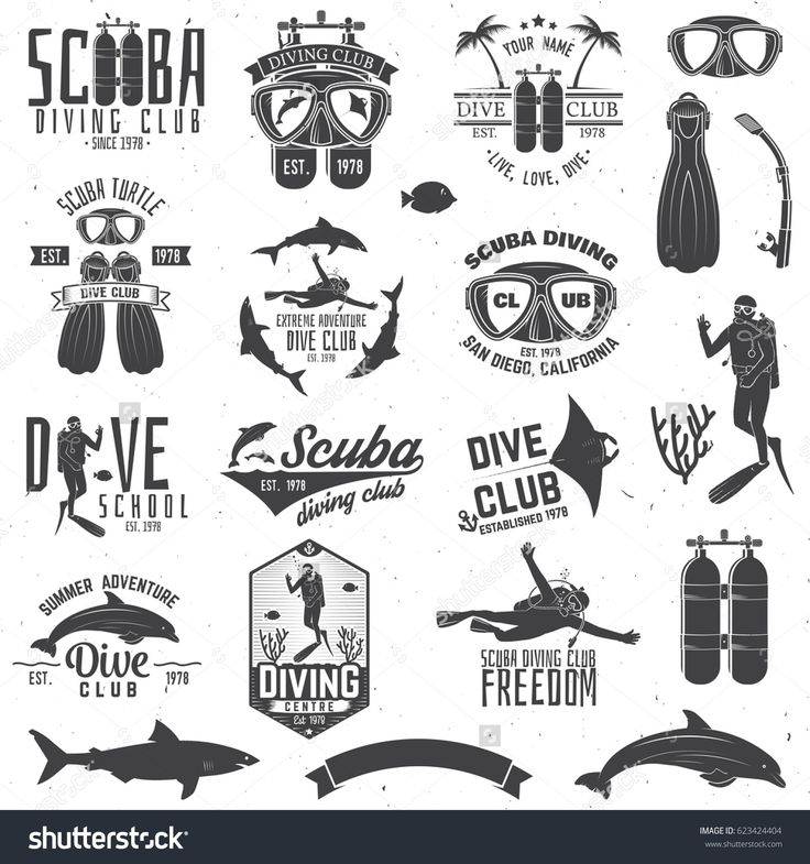 Set of Scuba diving club and diving school badges with design elements. Vector illustration. Concept for shirt or logo, print, stamp or tee. Vintage typography design with diving gear silhouette.