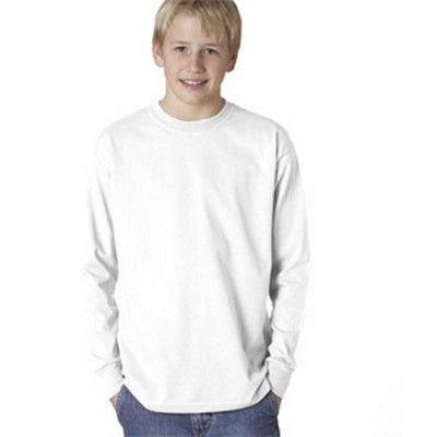 Youth L/S Cotton Shirt White Min 25 - A long sleeve youth's shirt with ultra tight knit surface and a taped neck and shoulders. #GildanPrintedTShirts #CottonShirt #WomensCottonTShirt #MensCottonTShirt #UnisexCottonTShirt #KidsCottonTShirt #LongSleeveCottonTShirt #VNeckCottonTShirt #CottonTankTop #CottonTeeShirt #FemaleTankTop