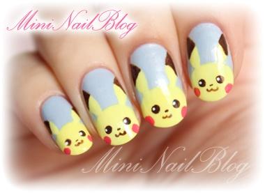 Mini Nail Blog: Pikachu Nail Art (o^∇^o)☆